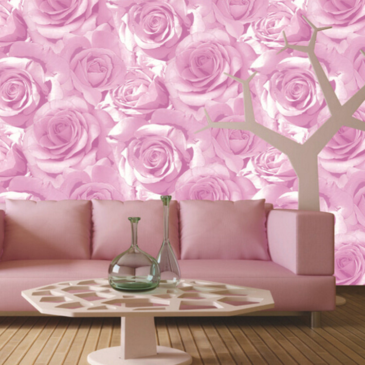 цена на 3D Romantic Rose Wallpaper Flower For Living room Sofa Cozy Home Decor Embossed Floral non-woven Purple Blue Pink Wall paper