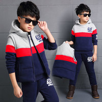 Full Sleeve Jacket Coat Tops Pants Vest Clothes 3PCS Autumn Spring Kids Clothes Hooded Children Kids