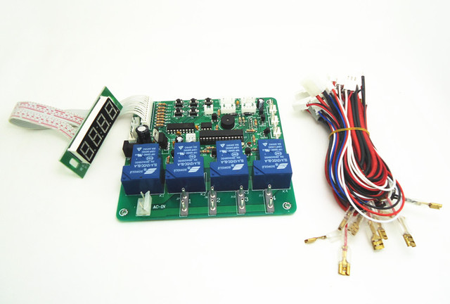 JY-21multi function 4 digits coin operated timer board for 1-4 devices machines, time control pcb with all wires