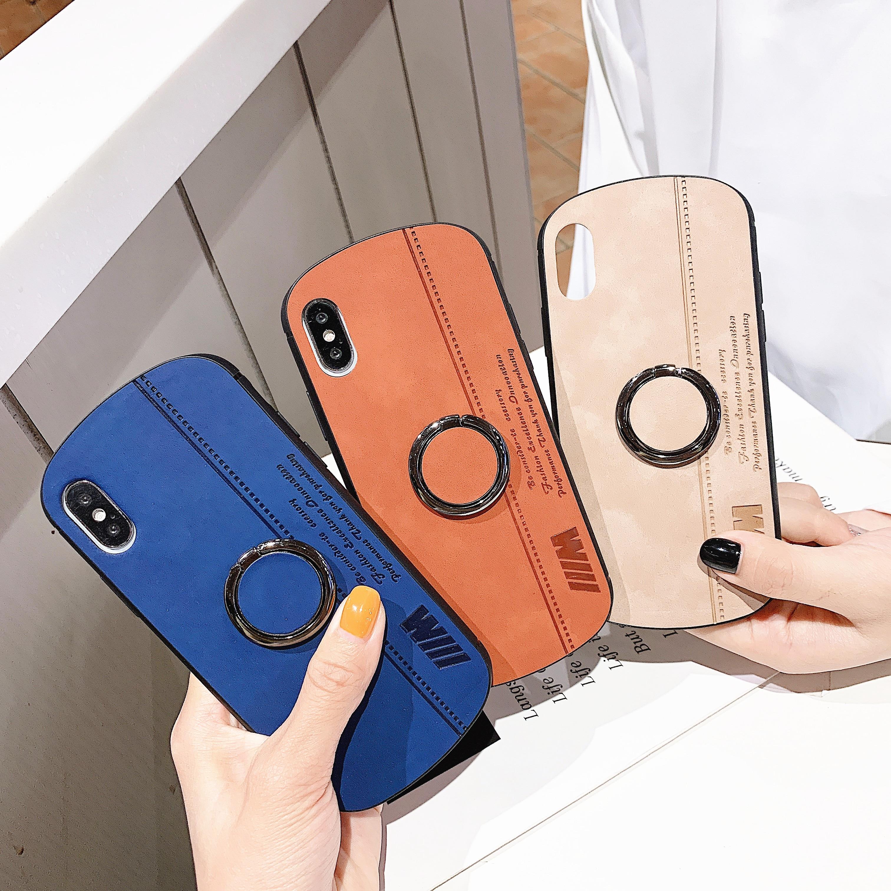 Mínimo caso de telefone Colorido 6 s 7 8 Business case para iphone6 Plus X XS XR XsMax com anel de Dedo kickstand TPU & PC capa