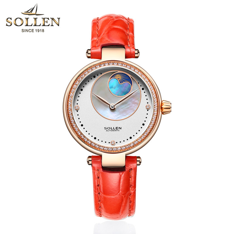 Sollen Brand Watch Automatic Mechanical Ladies Gold Fashion Wrist Watches Stainless Steel Women Wristwatch Female Clock Hours 2017 new brand watch quartz ladies gold fashion wrist watches diamond stainless steel women wristwatch girls female clock hours