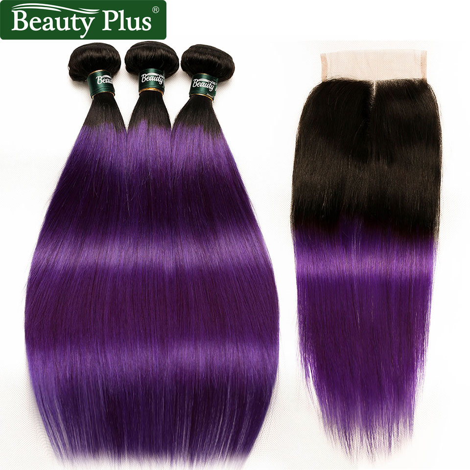 Purple Ombre Bundles With Closure Brazilian Human Hair Weave Bundles With Closure Beauty Plus Remy 2 Tone 3 Bundles With Closure
