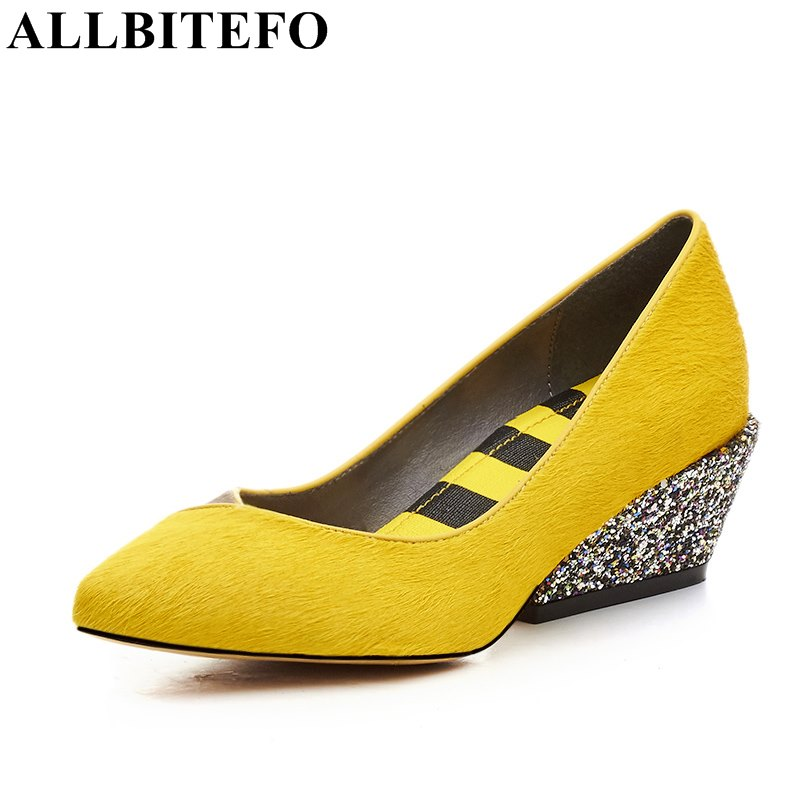 ALLBITEFO spring Horsehair+genuine leather pointed toe medium heel casual shoes fashion mixed colors women pumps ladies shoes