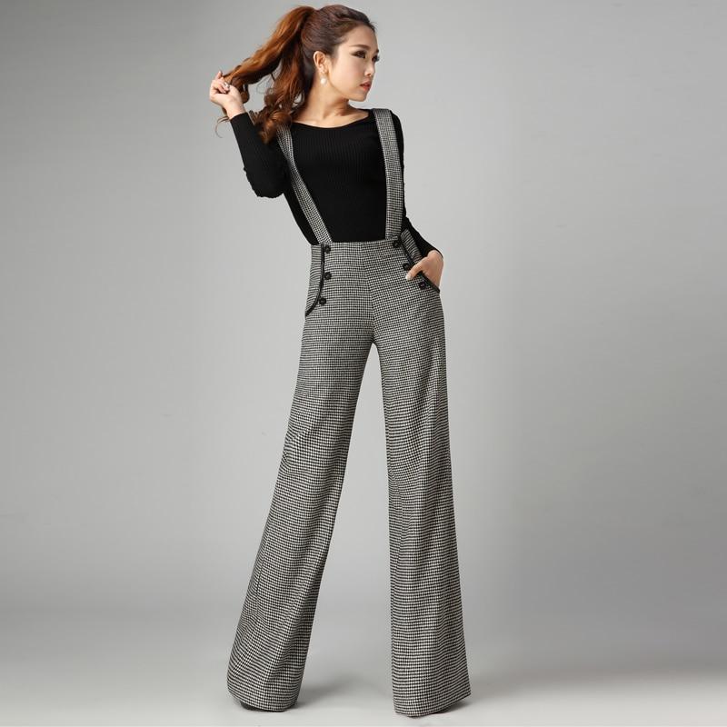 Wool   Wide     Leg     Pants   Fall Feeling Trousers Women Autumn and Winter High Waist Wool   Pants   Loose Suspenders Straight Long   Pants