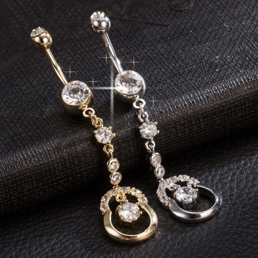 New Steel Medical Dangle Navel Button White Gold Color AAA Cubic Zirconia Cute Umbilical Ring Body Jewerly Drop Shipping