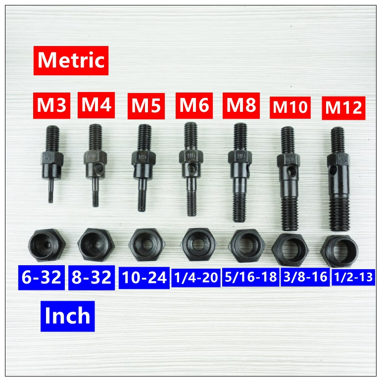 MXITA Riveter Gun Replacement Mandrel For Hand Nut Rivet Gun Metric M3-M12 INCH 6-32--1/2-13