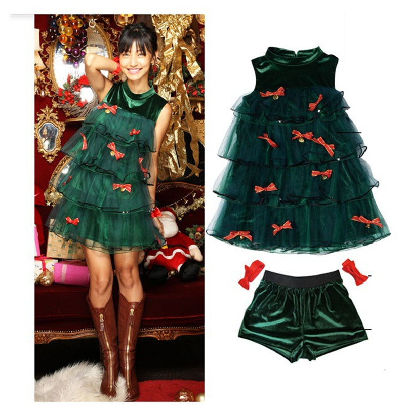 Fashion Cute Christmas Dress  Fancy Japanese Korea Holiday Party Dancing Costume Cosplay Adult Women Green Lace Dress