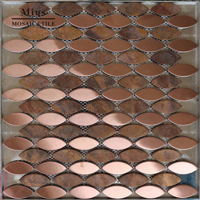 Oval Metal Tiles Penny Oval Copper Backsplash  A6YG90