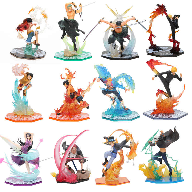 17-20cm Anime One Piece Roronoa Zoro Luffy Ace Boa Sanji shanks sabo PVC Action Figure toys One Piece battle ver