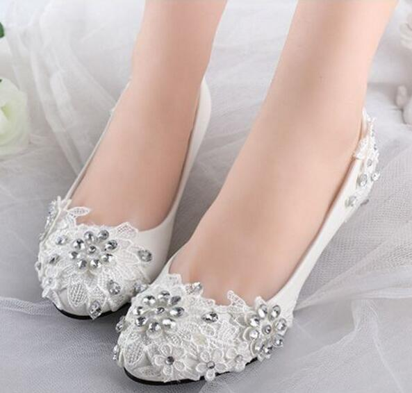 Lace Crystal Rhinestones Wedding Shoes Women White Color Handmade Silver Bridal Bridesmaid Party Shoe In S Pumps From