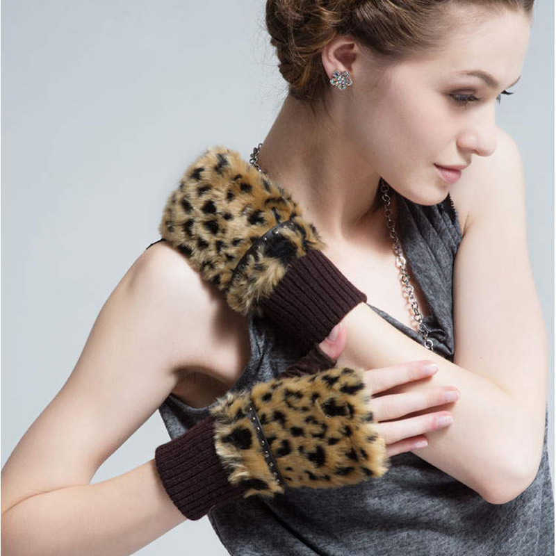 Fashion Elegant Pigskin Suede Finger less Women Gloves Lady Design Driving Leather Glove Leopard Rivets Mittens A2027 in Women 39 s Gloves from Apparel Accessories