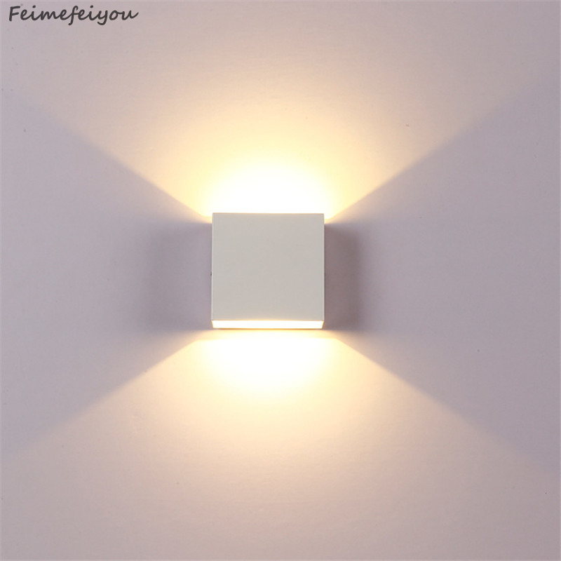 Feimefeiyou 6 w lampada conduziu a luz da parede de alumínio projeto ferroviário quadrado conduziu a lâmpada parede cabeceira quarto decoração da parede artes