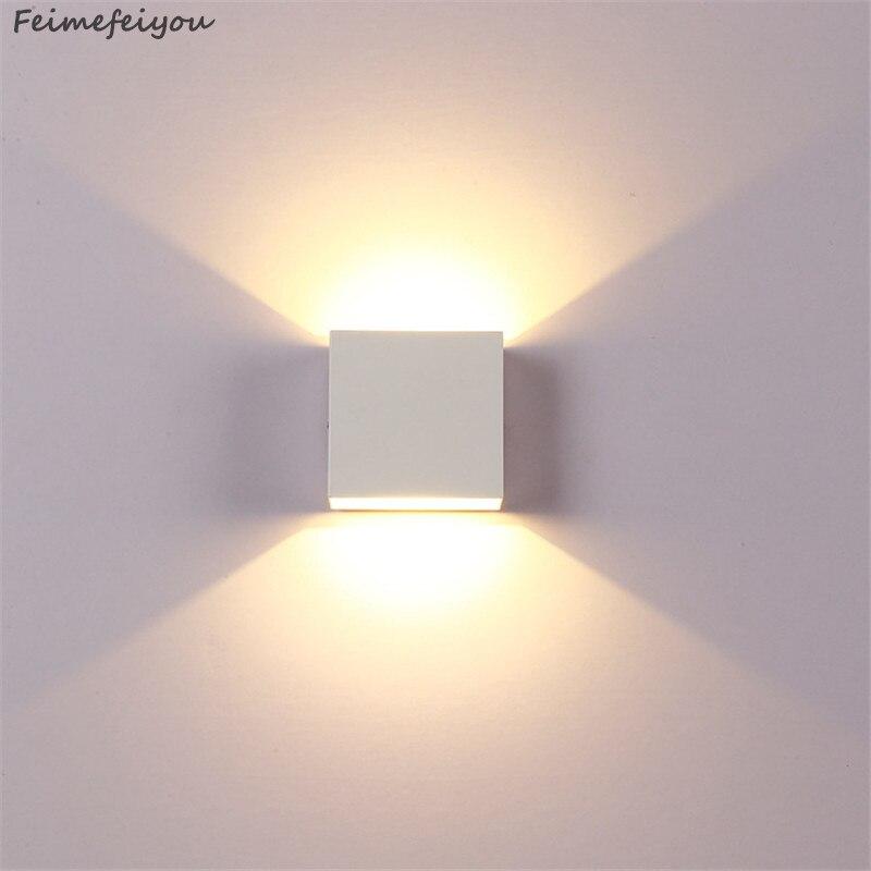 Feimefeiyou 6 w lampada conduziu a luz da parede de alumínio projeto ferroviário quadrado conduziu a lâmpada de parede luzes cabeceira quarto decoração da parede artes