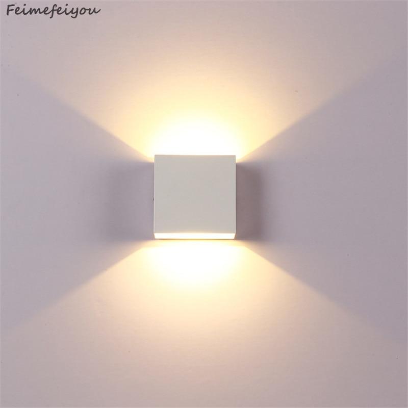 Feimefeiyou 6W lampada LED aluminiowa ściana lekka szyna projekt kwadratowa LED kinkiet lampki nocne sypialnia dekoracje ścienne sztuka