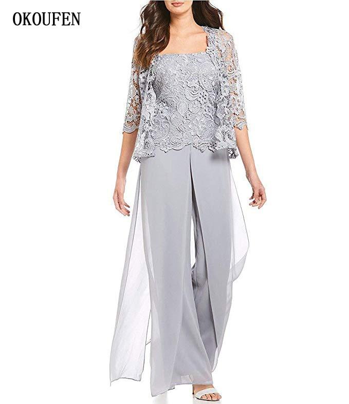 OKOUFEN Mother Of The Bride Groom Dresses Set 2019 Pantsuits Lace Jacket Silver 3 Piece Wide Pants Vestido De Madrinha Farsali