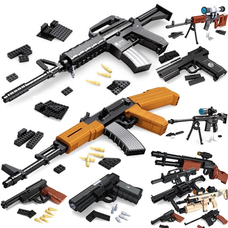 SWAT AK47 Sniper Rifle Pistol Desert Eagle Sets Building Blocks Children Boys Assemble Toys Compatible Legoed Guns Packs Weapons