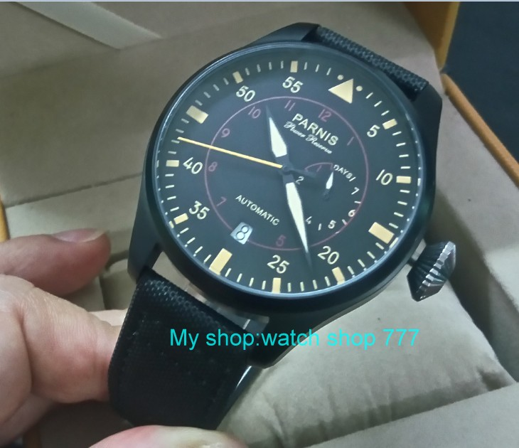 47mm PARNIS Automatic Self-Wind Mechanical movement men's watch Black dial PVD case power reserve Mechanical watches zd364a 43mm parnis power reserve automatic self wind mechanical movement men s watch black dial pvd case mechanical watches zdgd101a