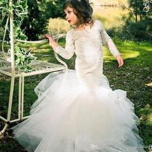 2016 Long Sleeve Mermaid Lace Flower Girls Dresses for Weddings 2016 Cheap Kids Little Girls Pageant Gowns Communion Dress FH35