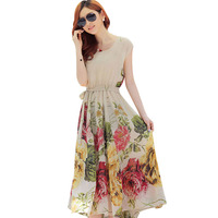 Hot 2016 Summer Women Elegant Dresses Floral Printed Dresses Sleeveless Prom Gown Vestidos Beach Vacation Bohemia