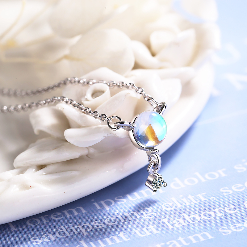 Fashion 925 Sterling Silver Necklace For Women Party Accessories Trendy Moon Stone Star Pendant Necklace Girls Clavicle Necklace in Pendant Necklaces from Jewelry Accessories