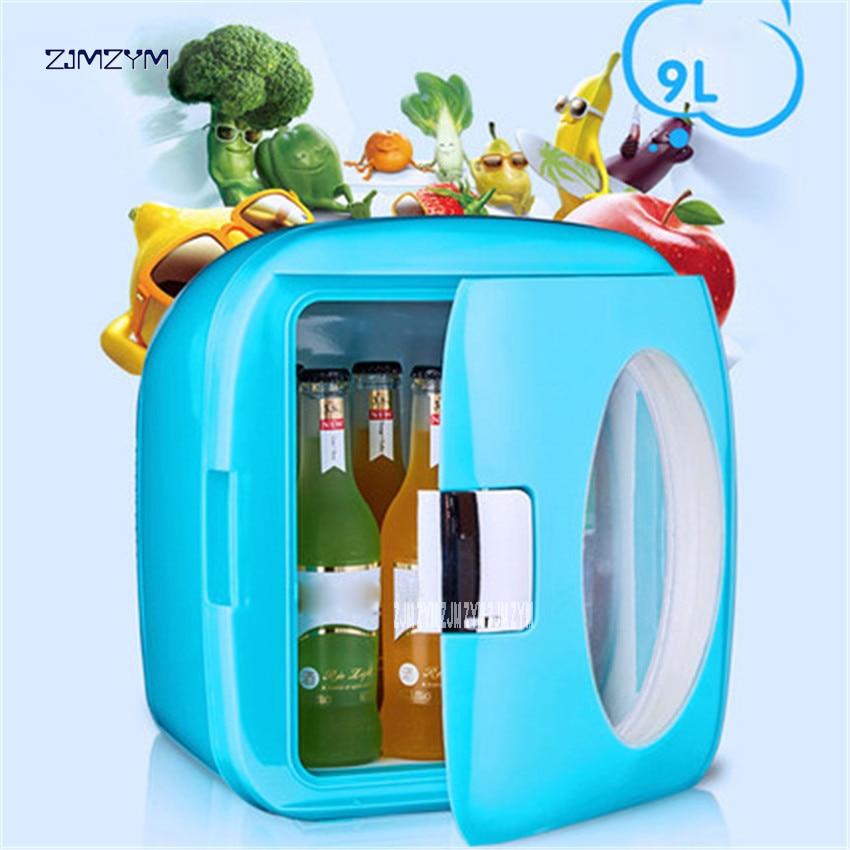 9L 12V 220V Mini Car Fridge Cooler Warmer Multi-function Travel Refrigerator Portable Electric Icebox Cooler Box Freezer LY0309A