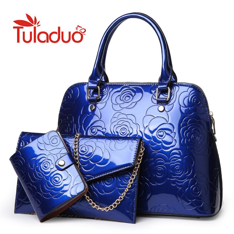 High Quality Patent Leather Women Handbags Luxury Floral 3 Sets Ladies Composite Bag Fashion Shell Bags