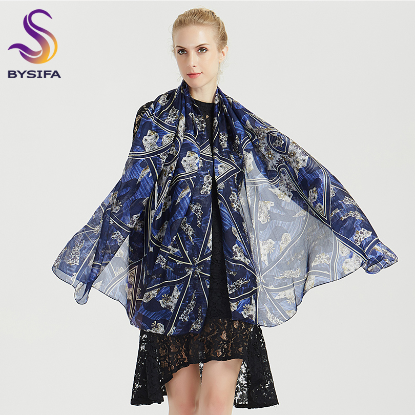 [BYSIFA] Brand Women 100% Silk   Scarf   Shawl Fashion Accessories Blue Long   Scarves     Wraps   Winter Ladies   Scarves   Foulard 180*110cm