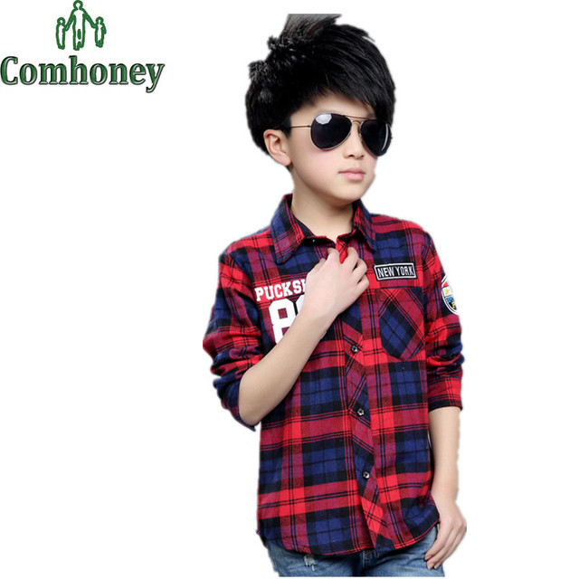 Boys Plaid Shirts Long Sleeved Letter Printing Collared Shirts for Boys Children Kids School Blouse for Teenagers Child Clothes