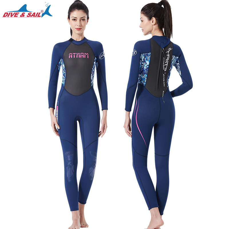 2019 new diving suit female 3mm one piece long sleeved wetsuit high elastic warm waterproof female