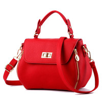 2017 New Arrival Female Bags Concise Classic Sweet Lady Leisure Fashion Tote Bag Solid Color Red