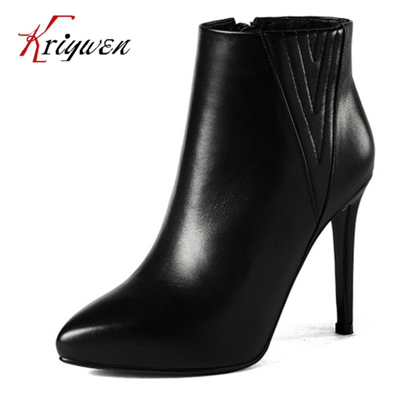 2016 New Fashion Women footwear thin high Heels Ankle Boots Full grain leather cow muscle elegant lady party shoes big size33-40 free shipping hockey skates black color 507