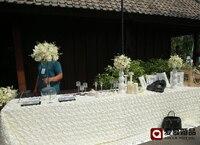 10 야드 웨딩 장식 홈 파티 테이블 스커트 무대 배경 3D 장미 꽃잎 문 커튼 사진