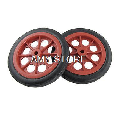 2pcs 4 5 11 4cm 114x8x17mm Rear Back Shopping Trolley Basket Red Black Cart Wheels Rubber