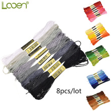Looen 8pcs/lot Similar Color Threads Cross Stitch Floss 6 Shares Embroidery Thread Sewing Skeins Craft For Handmade Accessories