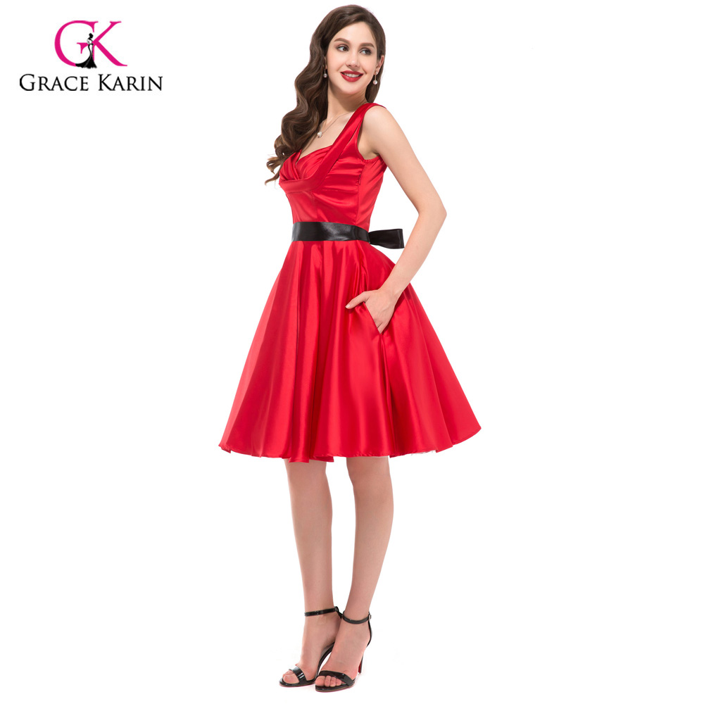14860d21259 2018 Womens Party Dresses Summer Style 50s 60s Vintage Cocktail Dress Plus  Size robe Rockabilly Ladies office Causal clothing -in Cocktail Dresses  from ...