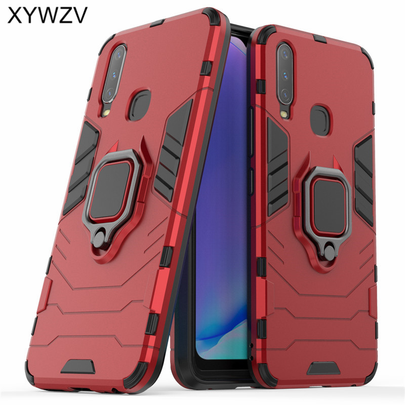 Vivo Y17 Case Shockproof Cover Armor Metal Finger Ring Holder Soft Silicone Hard PC Phone Case For Vivo Y17 Back Cover Vivo Y17-in Fitted Cases from Cellphones & Telecommunications
