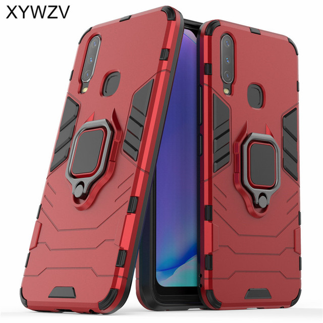 Vivo Y17 Case Shockproof Cover Armor Metal Finger Ring Holder Soft Silicone Hard PC Phone Case For Vivo Y17 Back Cover Vivo Y17