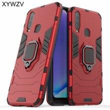 Vivo Y17 obudowa odporna na wstrząsy czarne etui zbroja metalowy uchwyt na palec miękkiego silikonu twardego PC telefon etui na Vivo Y17 tylna pokrywa Vivo y17