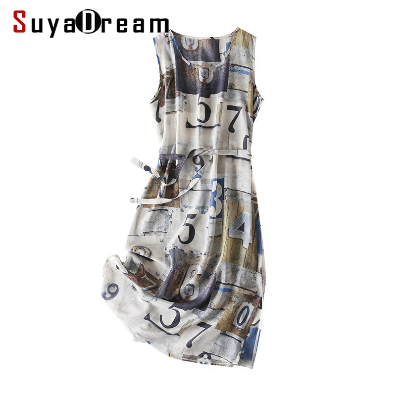 Women Belted Dress 100 REAL SILK Crepe Printed Dresses O neck Sleeveless Dresses for Women 2019