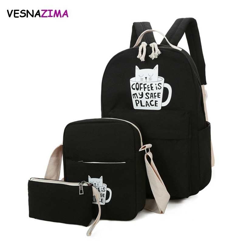 Brand Women Backpack Cat Print Canvas School Bags For Teenager Girls Preppy Style 3 PC/Set Rucksack Cute Book Bag Mochila WM616Z ciker new preppy style 4pcs set women printing canvas backpacks high quality school bags mochila rucksack fashion travel bags