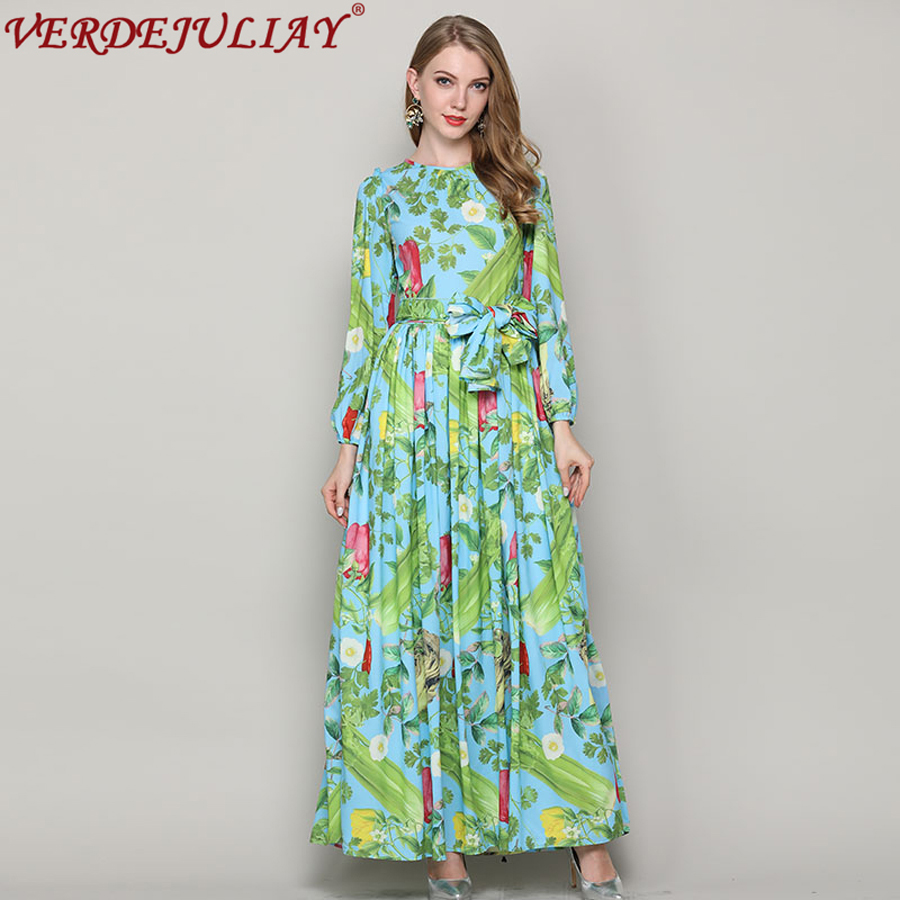 Pastoral Style Dresses 2018 Fashion Early Spring Fruit & Vegetable Print Ankle-Length Long Popular Noble Empire Pleated Dress