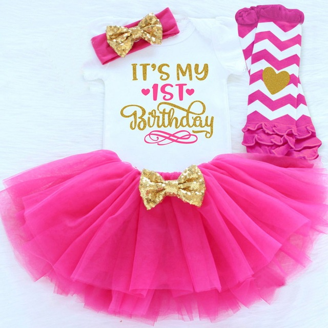 0-12M Infant Baby Girl Clothes 4pcs Clothing Princess Dresses Stocking Headband Newborn Kid Clothes First Birthday Party Outfits