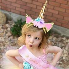 Moda linda meninas unicórnio festa bandana dos desenhos animados tiara aniversário cetim faixa unicórnio feliz aniversário fontes para meninas