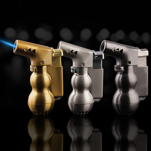 Image 2 - NEW Mini Spray Gun Compact Butane Jet Lighter Torch Turbo Lighter Fire Windproof Metal JET Lighter 1300 C NO GAS