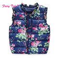 Girls Vests Children's Winter Spring Autumn Vest Print Floral Butterfly Waistcoat Kids 2-7 Years Warm Baby Girls Outerwear
