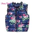 Niñas chalecos para niños invierno primavera otoño chaleco de la impresión floral de la mariposa niños chaleco 2-7 años warm baby girls prendas de vestir exteriores