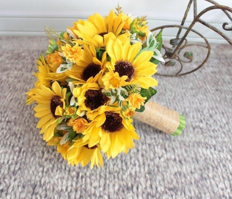 2016 New Style Artificial Suflowers Yellow Wedding Bouquets For Brides Wedding Flowers Bridal Bouquets Boeket Bruiloft
