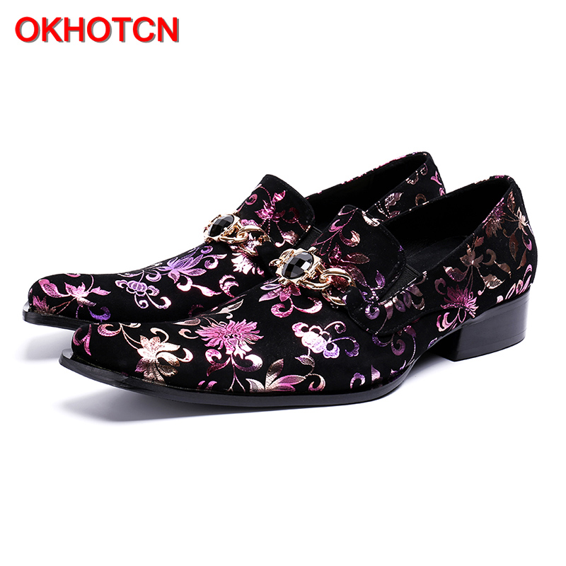 Shoes Okhotcn Flower Printing Genuine Leather Man Shoes Square Toe Man Dress/wedding/party Shoes Classic Male Formal Oxfords Shoes