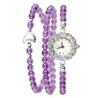 New Arrival Brand Women Natural Purple Crystal Bracelet Watch National Style Chain Bracelet Watch Crystals Chain