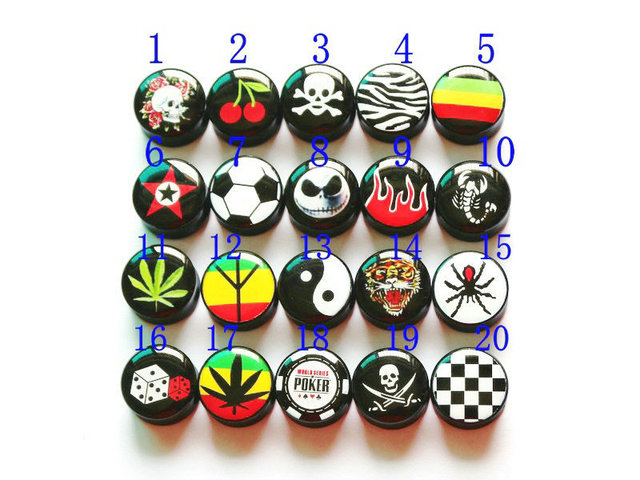 Dhl Free Shipping Body Piercing Jewelry Black Acrylic Diffe 20 Styles Logo Picture Ear Gauges 10mm